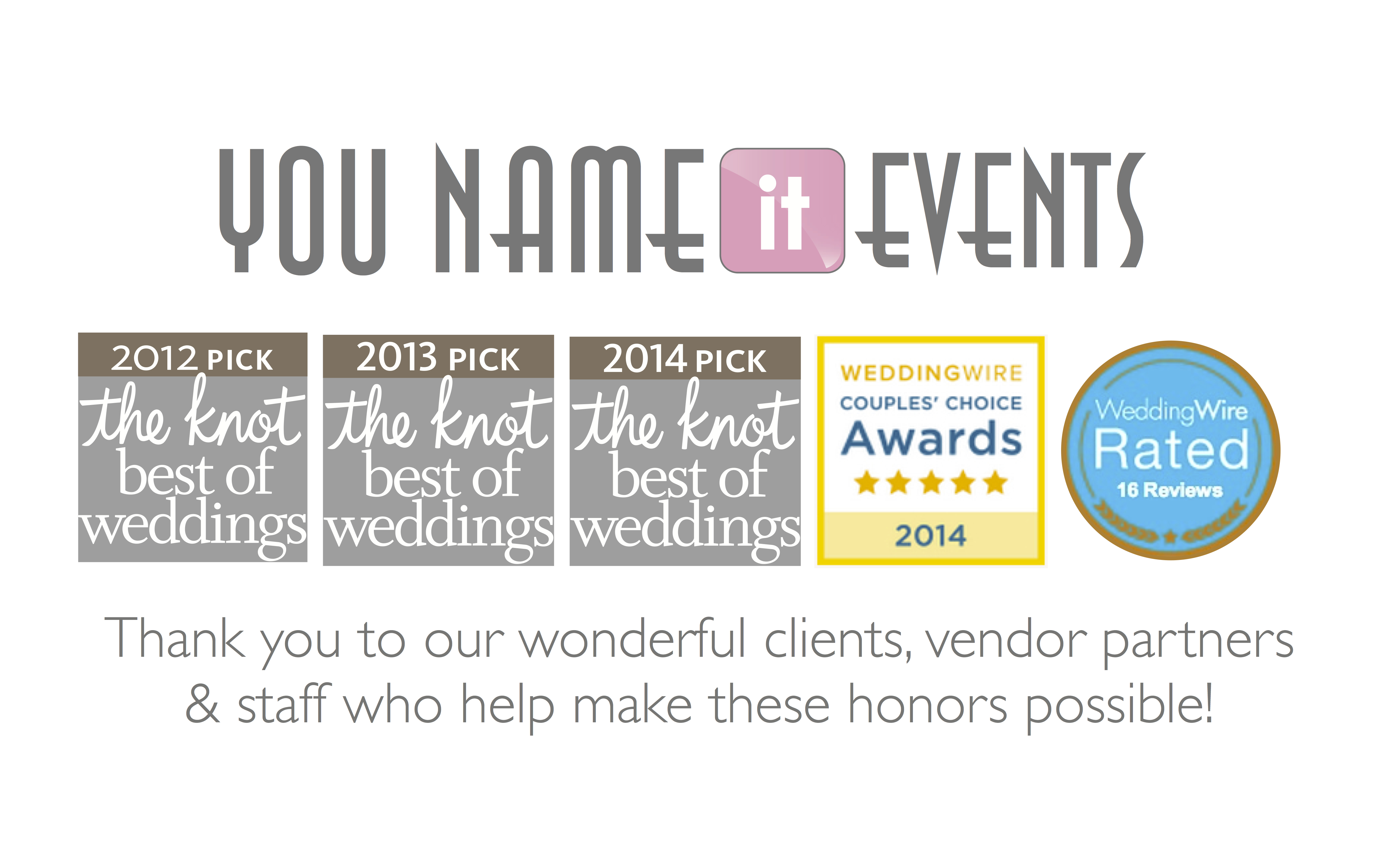 You Name it Events - 2014 Awards