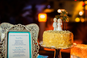 This celebration cake included the cake topper from the couple's original wedding!