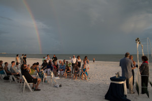 Beach ceremony complete with rainbow! So glad we placed the order for that!